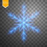 Shine blue snowflake with glitter  on transparent background. Christmas decoration with shining sparkling light Royalty Free Stock Photo
