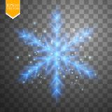 Shine blue snowflake with glitter  on transparent background. Christmas decoration with shining sparkling light Stock Images