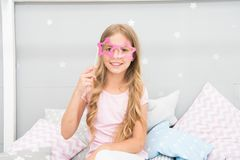 Shine bright like superstar. Slumber party accessories. Kid girl cheerful star shaped eyeglasses. Printable photo booth. Props pajamas party. Adorable kid home royalty free stock image