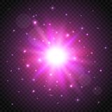 Shine cosmic star on transparent background. Glow effect. Vector illustration.  Stock Photography