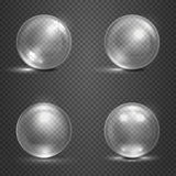 Shine 3D glass spheres, magic balls, crystal orbs vector set Royalty Free Stock Photography