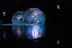 Shine in the dark. Jellyfish from the glittering stones in a dark room Royalty Free Stock Photo