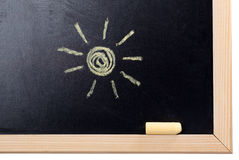 Shine drawn. With a chalk on a blackboard Royalty Free Stock Image