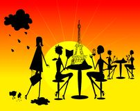 Shine French Woman silhouette Royalty Free Stock Images