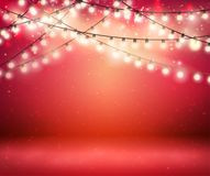 Shine Garland. Greeting Background With Lights Stock Photo