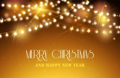 Shine Garland. Nerry Christmas And Happy new Year Greeting Background With Lights Royalty Free Stock Photo