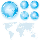 Shine Globes. World Map with Shine Globes,detailed (vector available royalty free illustration