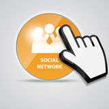 Shine glossy computer icon social network with Royalty Free Stock Image