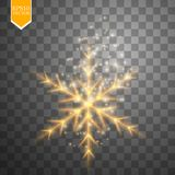 Shine gold snowflake with glitter isolated on transparent background. Christmas decoration with shining sparkling light Stock Image