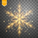 Shine gold snowflake with glitter  on transparent background. Christmas decoration with shining sparkling light Royalty Free Stock Photos