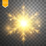 Shine gold snowflake with glitter  on transparent background. Christmas decoration with shining sparkling light Stock Images