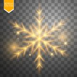 Shine gold snowflake with glitter  on transparent background. Christmas decoration with shining sparkling light Royalty Free Stock Photography