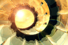 Shine golden helix. Illustration, abstract background, spiral fantasy Royalty Free Stock Images