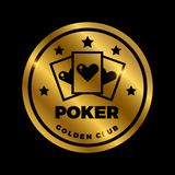 Shine golden poker label design. Golden vector casino icon. Isolated on black illustration Stock Photography