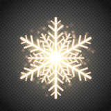Shine golden snowflake with glitter . Christmas vector decoration. Shine golden snowflake with glitter  on transparent background. Christmas decoration with Stock Images