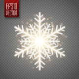 Shine golden snowflake with glitter . Christmas vector decoration. Shine golden snowflake with glitter  on transparent background. Christmas decoration with Stock Photo