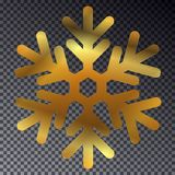 Shine golden snowflake isolated on transparent background. Christmas decoration with light effect. Vector isolated icon. New Year golden glittering ornament Royalty Free Stock Image