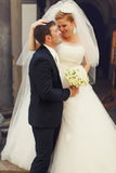 Shine of happiness on newlyweds faces Royalty Free Stock Photo