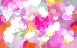 Shine hearts brush strokes background. Vector illustration Royalty Free Stock Images