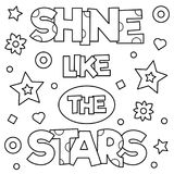 Shine like the stars. Coloring page. Vector illustration. Shine like the stars. Coloring page. Black and white vector illustration Stock Images
