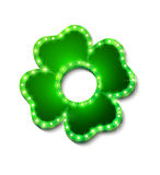 Shine lucky clover with shadow on white background for your design Stock Photos
