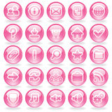 Shine Pink Glass Buttons Stock Images