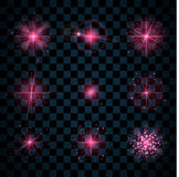 Shine pink stars glitters sparkles. Pink shine stars with glitters, sparkles icons set. Effect twinkle, glare, scintillation element sign, graphic light Stock Image