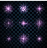 Shine purple stars glitters sparkles icons Stock Photography
