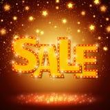 Shine sale on shining stars background Royalty Free Stock Image