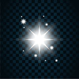 Shine star sparkle icon 2. Shine star with glitter and sparkle icon. Effect twinkle, glare, glowing, graphic light sign. Transparent glow design element on dark Royalty Free Stock Images