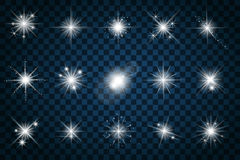 Shine stars with glitters and sparkles Royalty Free Stock Images