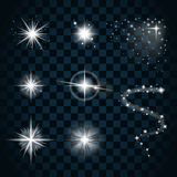 Shine stars with glitters and sparkles icons set 1. Shine stars with glitters and sparkles icons set. Effect twinkle, glare, scintillation element sign, graphic Stock Photos