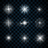 Shine stars with glitters and sparkles icons. Set. Effect twinkle, glare, scintillation element sign, graphic light. Transparent design elements on dark Royalty Free Stock Photos