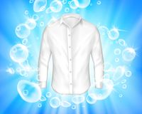 Shine white shirt surrounded by soap bubbles. Vector realistic banner with shine white shirt surrounded by soap bubbles on blue background. Mock up design Stock Photos
