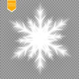 Shine white snowflake with glitter isolated on transparent background. Christmas decoration with shining sparkling light Stock Images