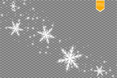 Shine white snowflake with glitter isolated on transparent background. Christmas decoration with shining sparkling light. Effect. Vector eps 10 Stock Photo