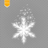 Shine white snowflake with glitter isolated on transparent background. Christmas decoration with shining sparkling light Royalty Free Stock Image