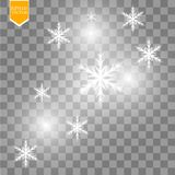 Shine white snowflake with glitter isolated on transparent background. Christmas decoration with shining sparkling light. Effect. Vector eps 10 Royalty Free Stock Image