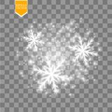 Shine white snowflake with glitter isolated on transparent background. Christmas decoration with shining sparkling light vector illustration