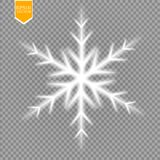 Shine white snowflake with glitter  on transparent background. Christmas decoration with shining sparkling light Royalty Free Stock Photo