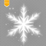 Shine white snowflake with glitter  on transparent background. Christmas decoration with shining sparkling light Royalty Free Stock Images