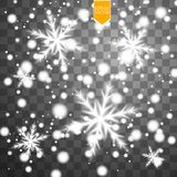 Shine white snowflake with glitter  on transparent background. Christmas decoration with shining sparkling light Royalty Free Stock Image