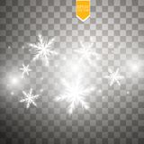 Shine white snowflake with glitter  on transparent background. Christmas decoration with shining sparkling light Stock Photo