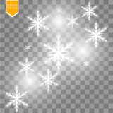 Shine white snowflake with glitter  on transparent background. Christmas decoration with shining sparkling light. Effect. Vector eps 10 Stock Photo