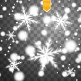 Shine white snowflake with glitter  on transparent background. Christmas decoration with shining sparkling light Stock Photography