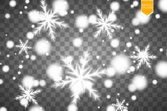 Shine white snowflake with glitter  on transparent background. Christmas decoration with shining sparkling light Stock Photos