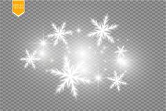 Shine white snowflake with glitter  on transparent background. Christmas decoration with shining sparkling light Stock Image