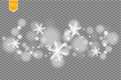 Shine white snowflake with glitter  on transparent background. Christmas decoration with shining sparkling light Stock Images