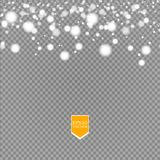 Shine white snowflake with glitter  on transparent background. Christmas decoration with shining sparkling light. Effect. Vector eps 10 Royalty Free Stock Photos