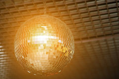 Shined disco mirror ball over the dance Royalty Free Stock Photography